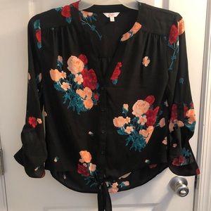 Candies front knot floral blouse